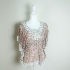 American Rag Floral Lace Detail Butterfly Blouse